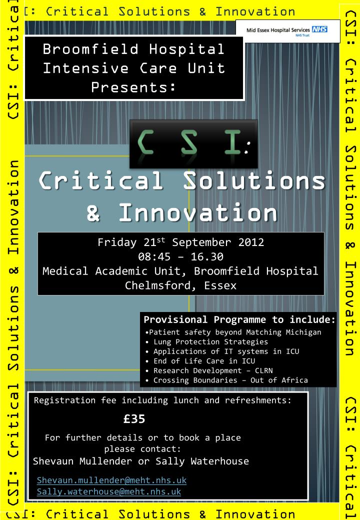 CSI: Critical Solutions & Innovation