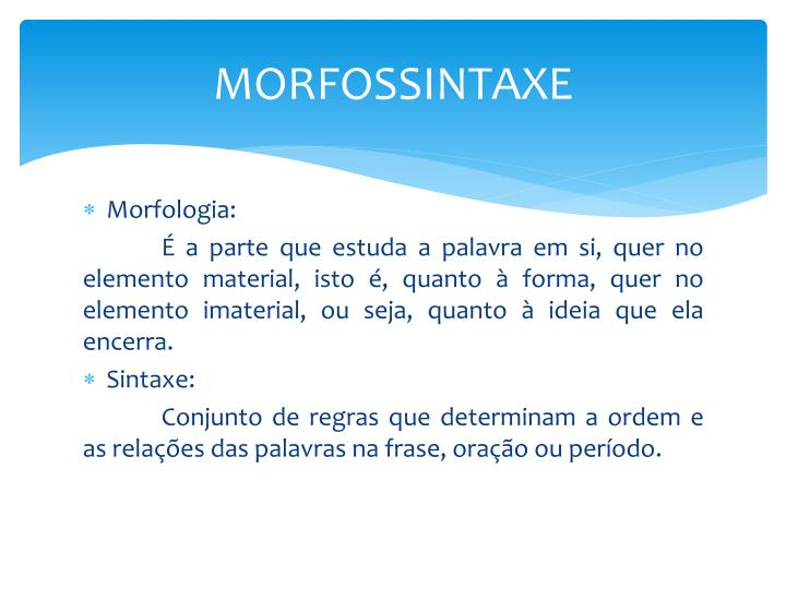 MORFOSSINTAXE