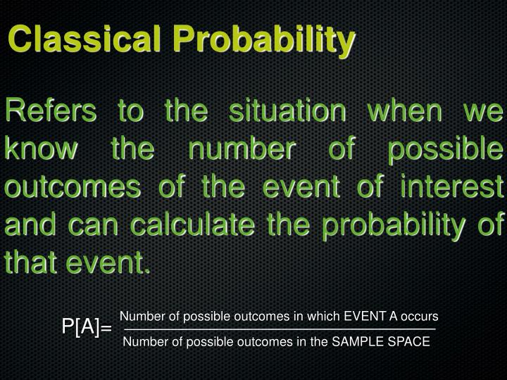 Number of possible outcomes in which EVENT A occurs