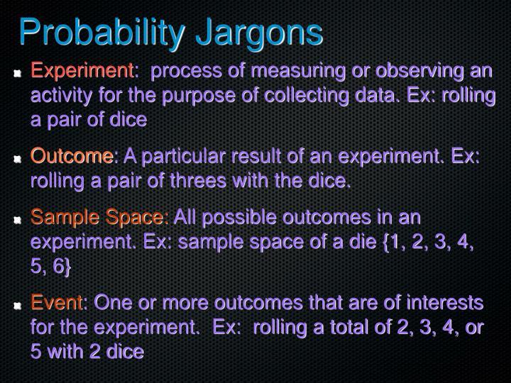 Probability Jargons