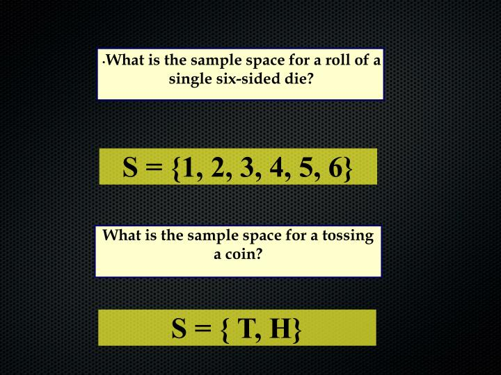 What is the sample space for a roll of a single six-sided die?