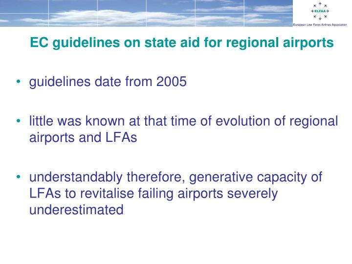 EC guidelines on state aid for regional airports