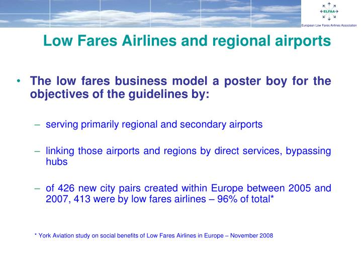 Low Fares Airlines and regional airports