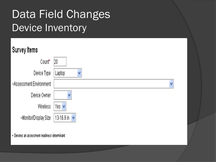 Data Field Changes