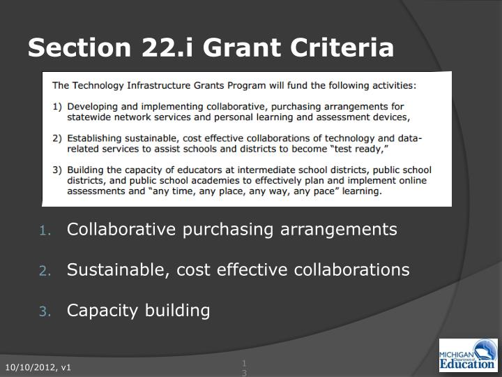 Section 22.i Grant Criteria