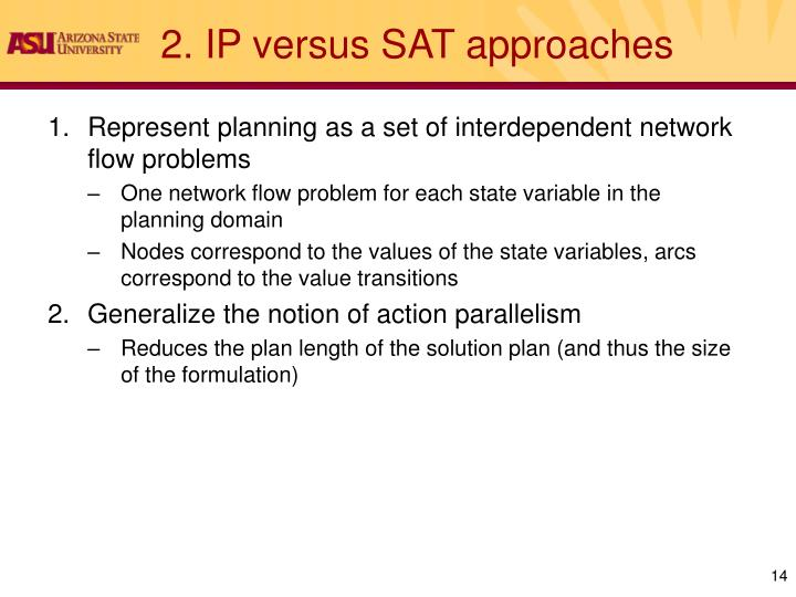 2. IP versus SAT approaches
