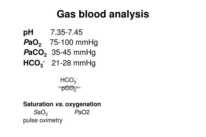 Gas blood analysis