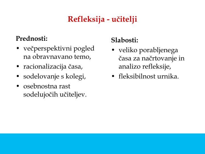 Refleksija - učitelji