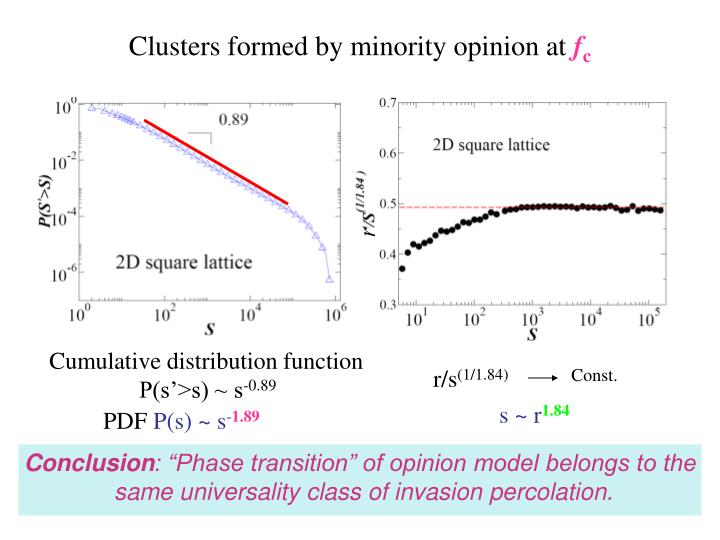Clusters formed by minority opinion at