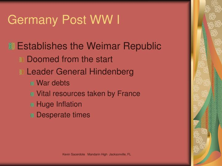 Germany Post WW I