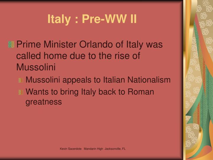 Italy : Pre-WW II