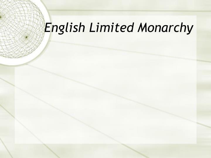 English Limited Monarchy