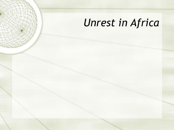 Unrest in Africa
