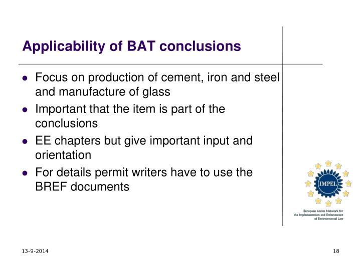 Applicability of BAT conclusions
