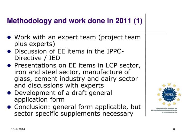 Methodology and work done in 2011 (1)