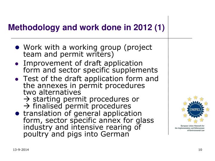 Methodology and work done in 2012 (1)