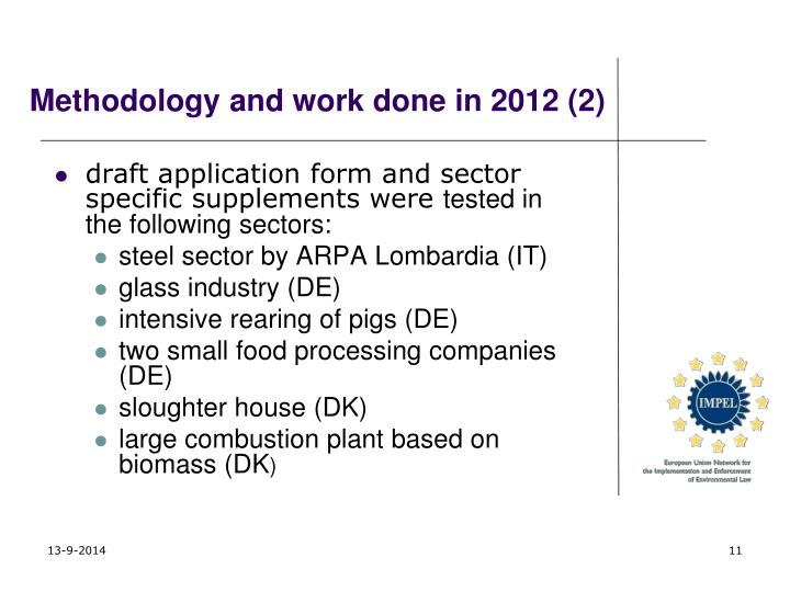 Methodology and work done in 2012 (2)