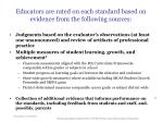 educators are rated on each standard based on evidence from the following sources