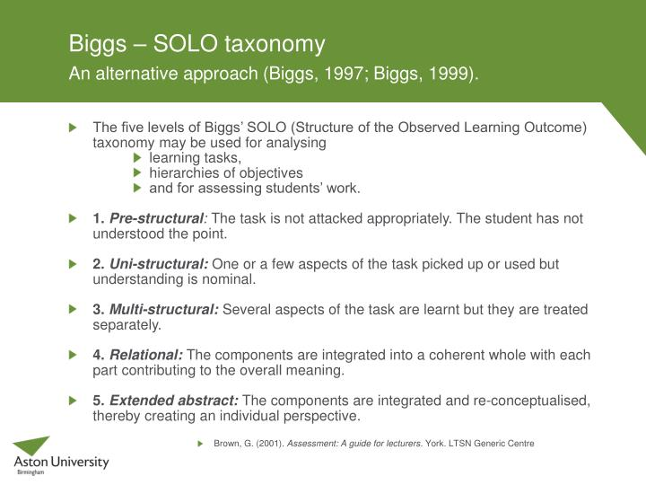 solo taxonomy essay Levels of understanding: other books may list bloom's taxonomy, define the terms • focus questions for pre-writing and essay planning.