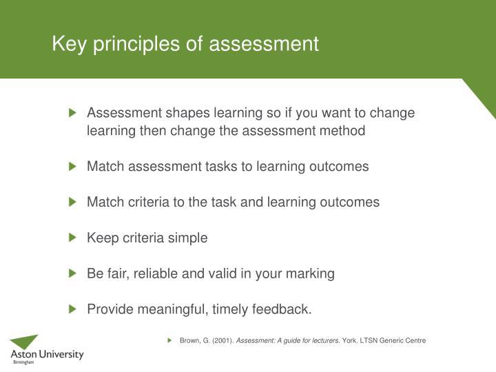 Understanding the principles and practies of assessment essay
