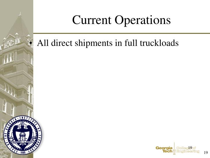All direct shipments in full truckloads