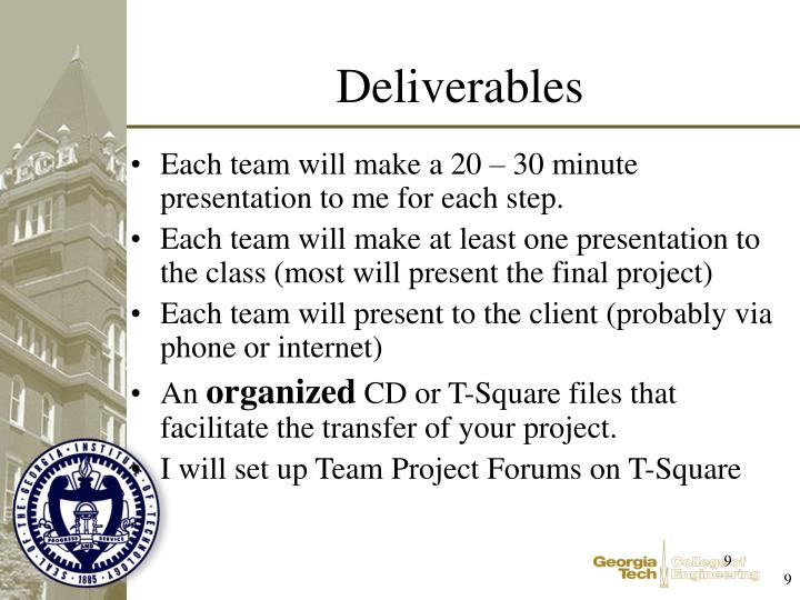 Each team will make a 20 – 30 minute presentation to me for each step.