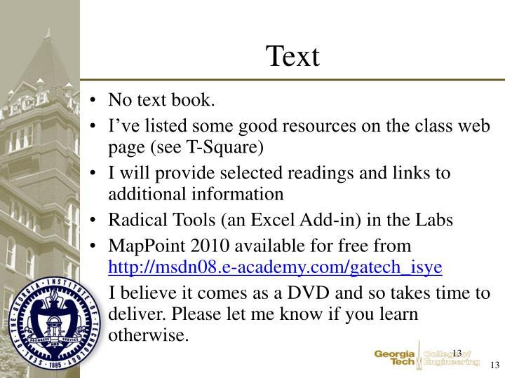 No text book.