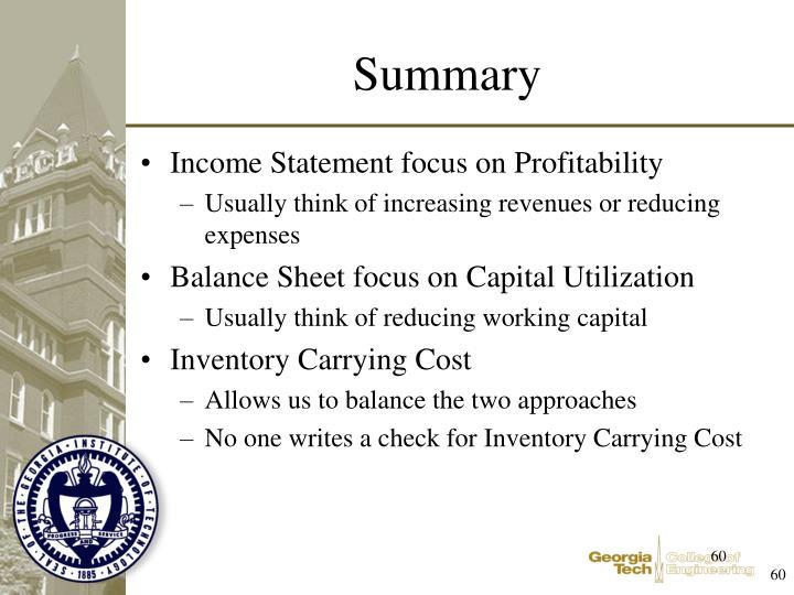 Income Statement focus on Profitability