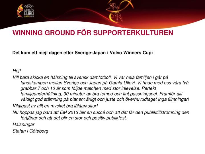 WINNING GROUND FÖR SUPPORTERKULTUREN