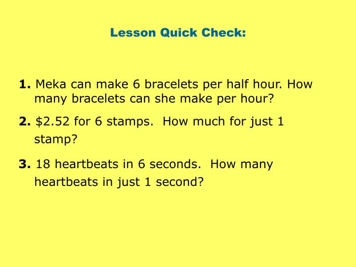 Lesson Quick Check: