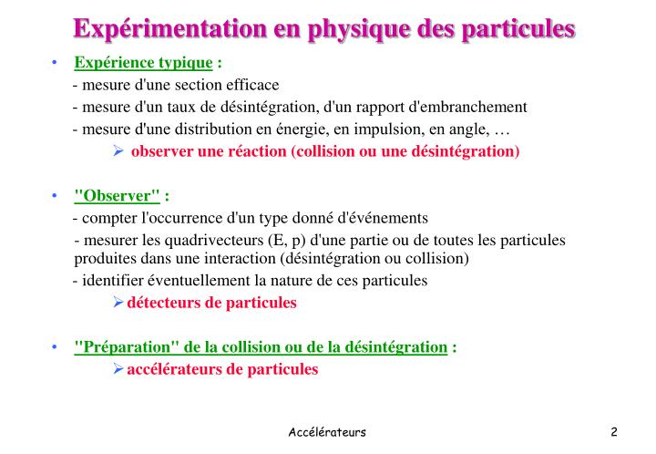 Expérimentation en physique des particules