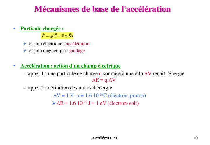 Mécanismes de base de l'accélération