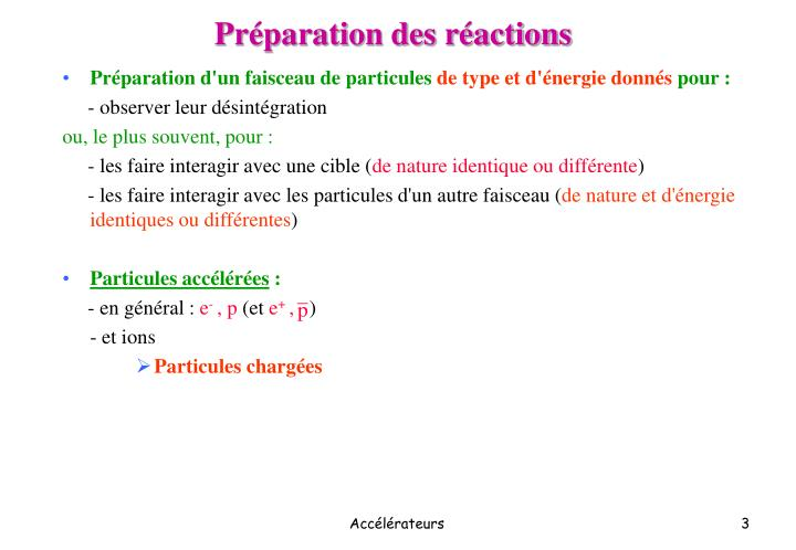 Pr paration des r actions
