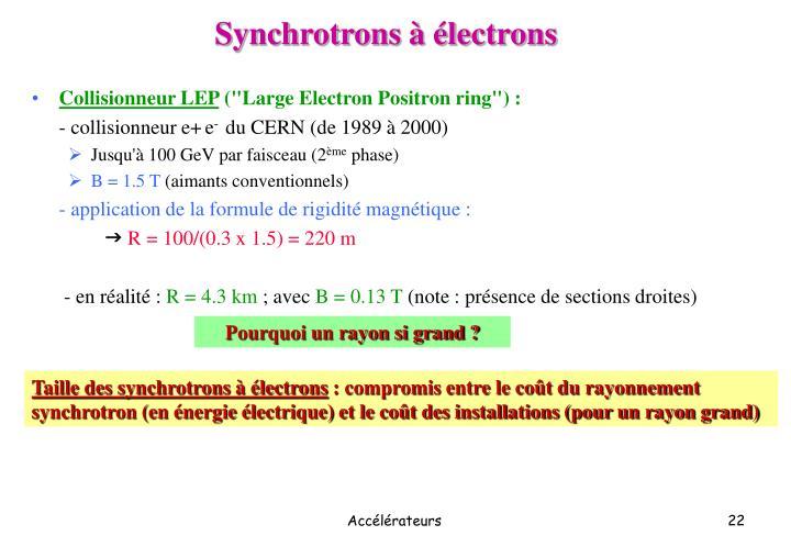 Synchrotrons à électrons