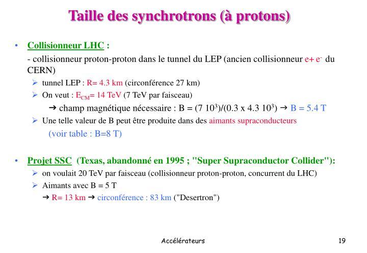Taille des synchrotrons (à protons)