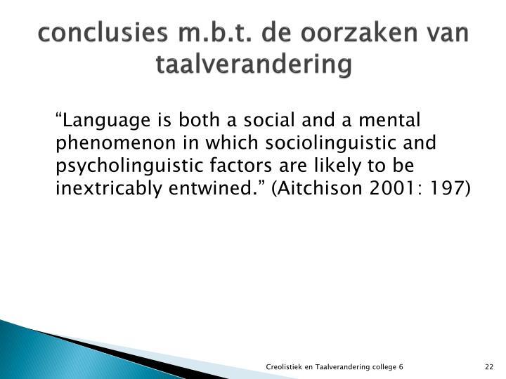 conclusies m.b.t. de oorzaken van taalverandering