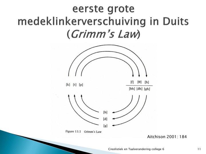 eerste grote medeklinkerverschuiving in Duits (