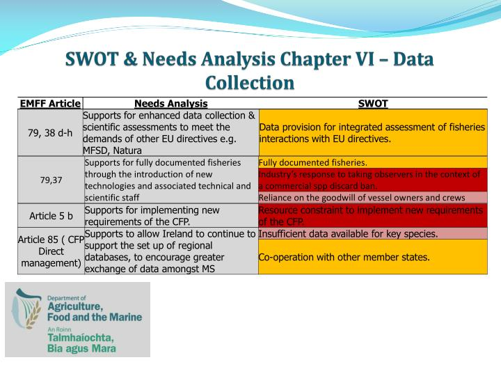 SWOT & Needs Analysis Chapter VI – Data Collection