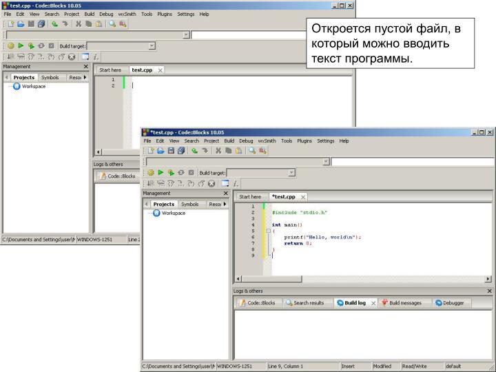 Откроется пустой файл, в который можно вводить текст программы.
