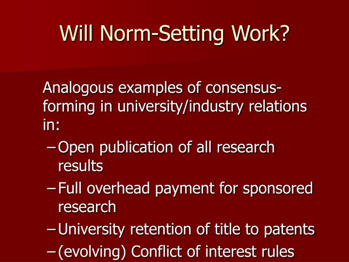 Will Norm-Setting Work?