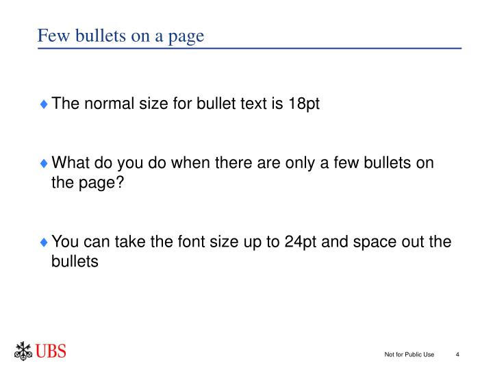 Few bullets on a page