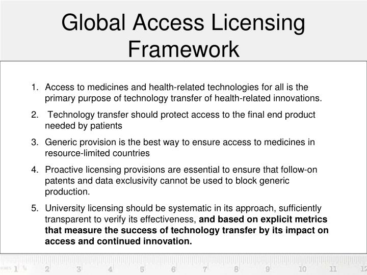 Global access licensing framework