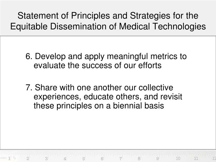 Statement of Principles and Strategies for the Equitable Dissemination of Medical Technologies