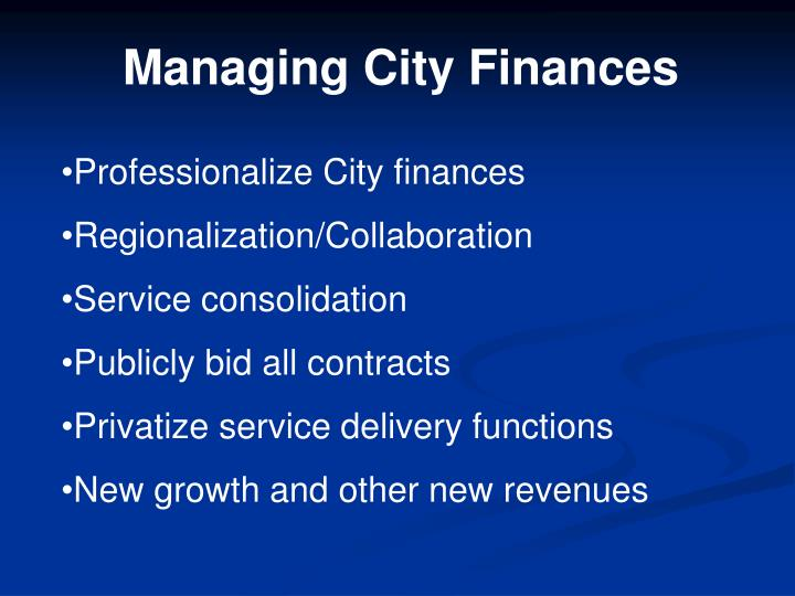 Managing City Finances