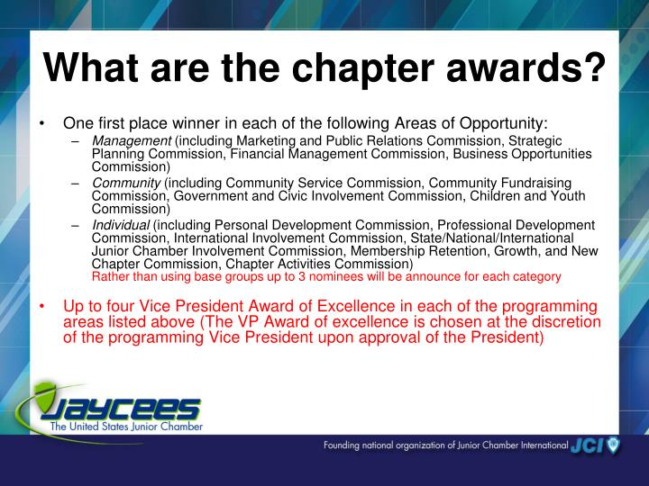 What are the chapter awards?