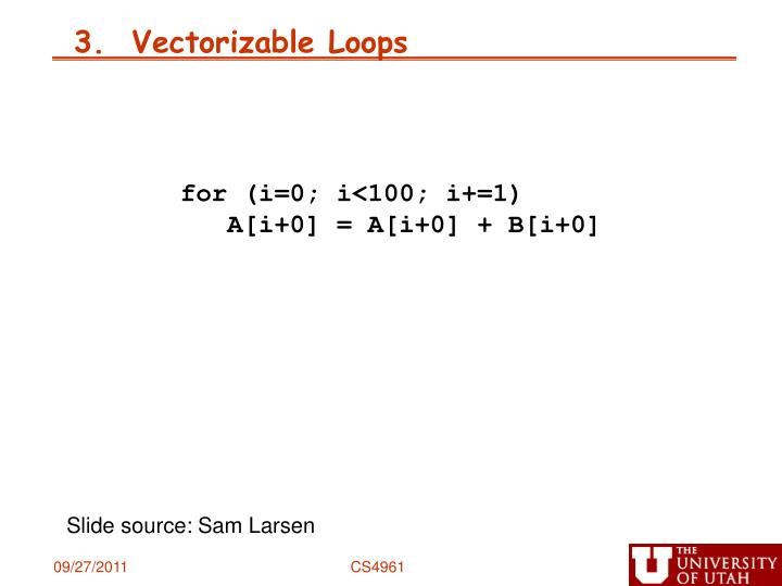 3.  Vectorizable Loops