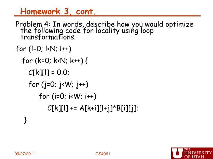 Homework 3, cont.