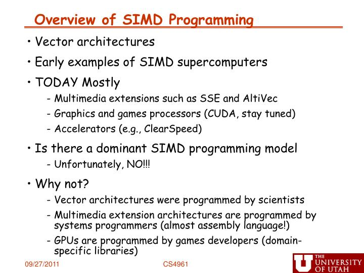 Overview of SIMD Programming