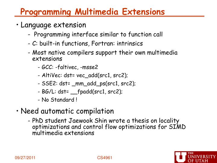 Programming Multimedia Extensions
