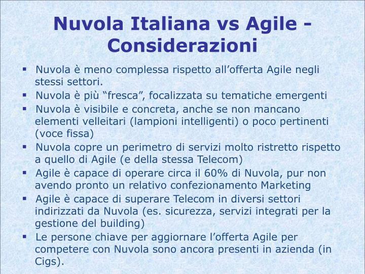 Nuvola Italiana vs Agile - Considerazioni